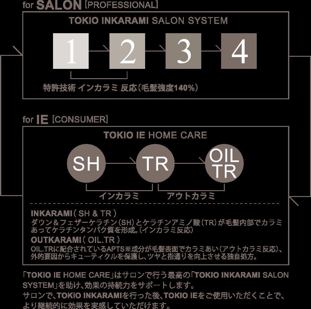 「TOKIO IE HOME CARE」はサロンで行う最高の「TOKIO INKARAMI SALON SYSTEM」を助け、効果の持続力をサポートします。サロンで、TOKIO INKARAMIを行なった後、TOKIO IEをご使用頂くことで、より継続的に効果を実感頂けます。